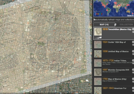 Screen capture of Hypercities map of Mexico City with 1519 Tenochtitlan map overlay