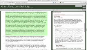 Figure 1: Screenshot of text and commentary from Writing History in the Digital Age, Fall 2011
